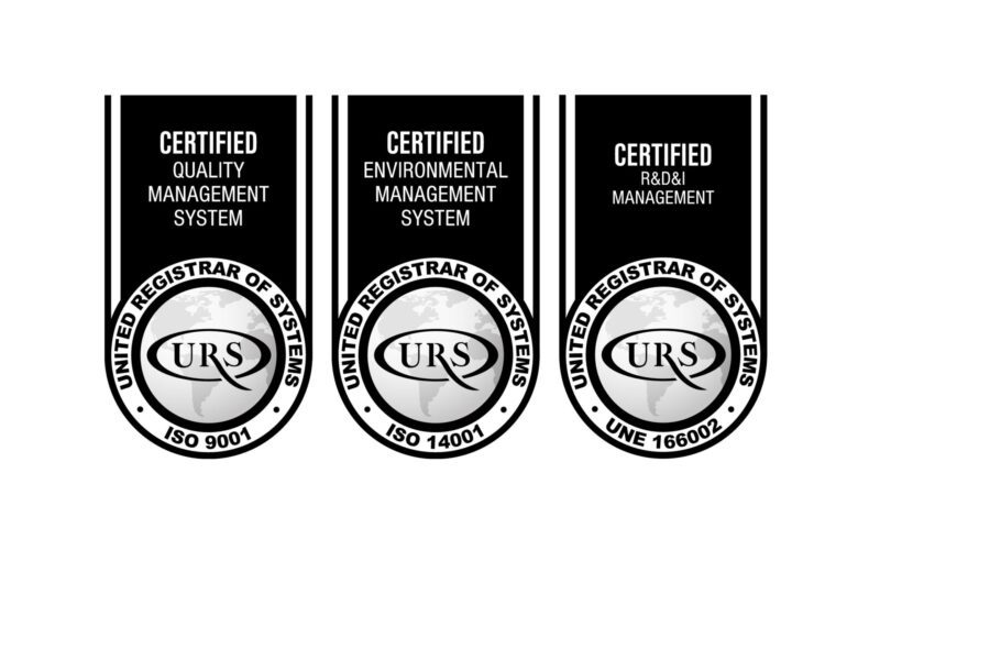 Quality (ISO 9001), Environment (ISO 14001) and R&D (UNE 166002) certificates