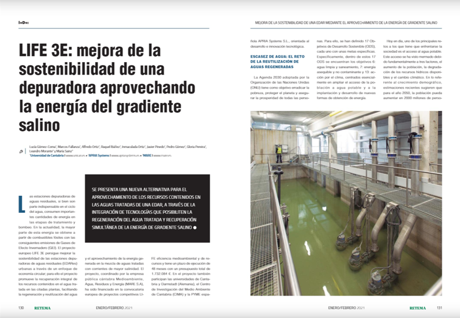 Article of the LIFE-3E project in RETEMA
